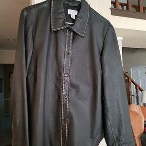 Ann Taylor black leather shirt